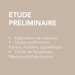 Etude préliminaire : élaboration des concepts, design préliminaire, cahier de tendances